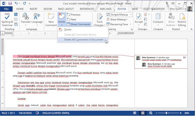 Cara membuat dan menghilangkan comment di microsfot word