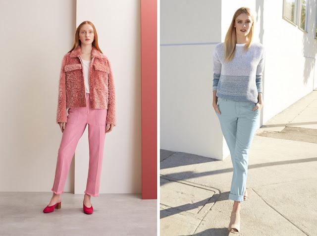 Пастельные монохромные образы с розовым жакетом и брюками и голубым свитером в полоску и голубыми брюками