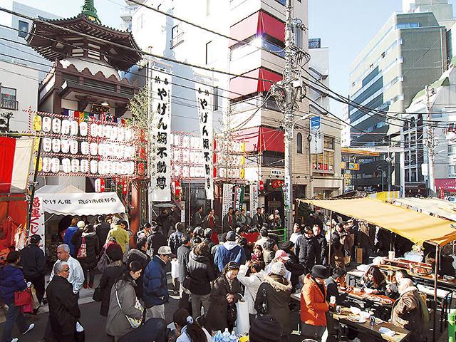 Toshi-no Ichi (O-Deko Ichi) at Yagenbori Fudoson Temple, Chuo-ku, Tokyo