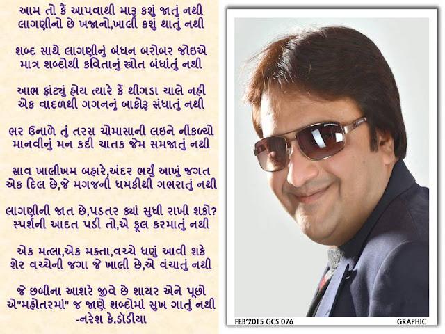 Aam To Apvathi Maru Kasu Jatu Nathi Gujarati Gazal By Naresh K. Dodia