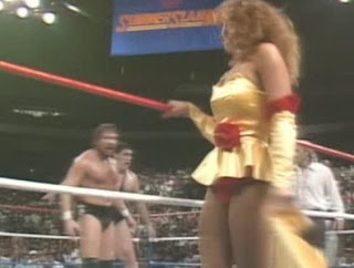 WWE/WWF SUMMERSLAM 1988: Miss Elizabeth stuns Ted Dibiase and Andre the Giant by taking her dress off