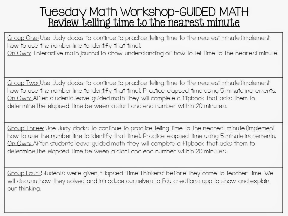 4 Day Math Workshop Lesson Plans The Teacher Talk