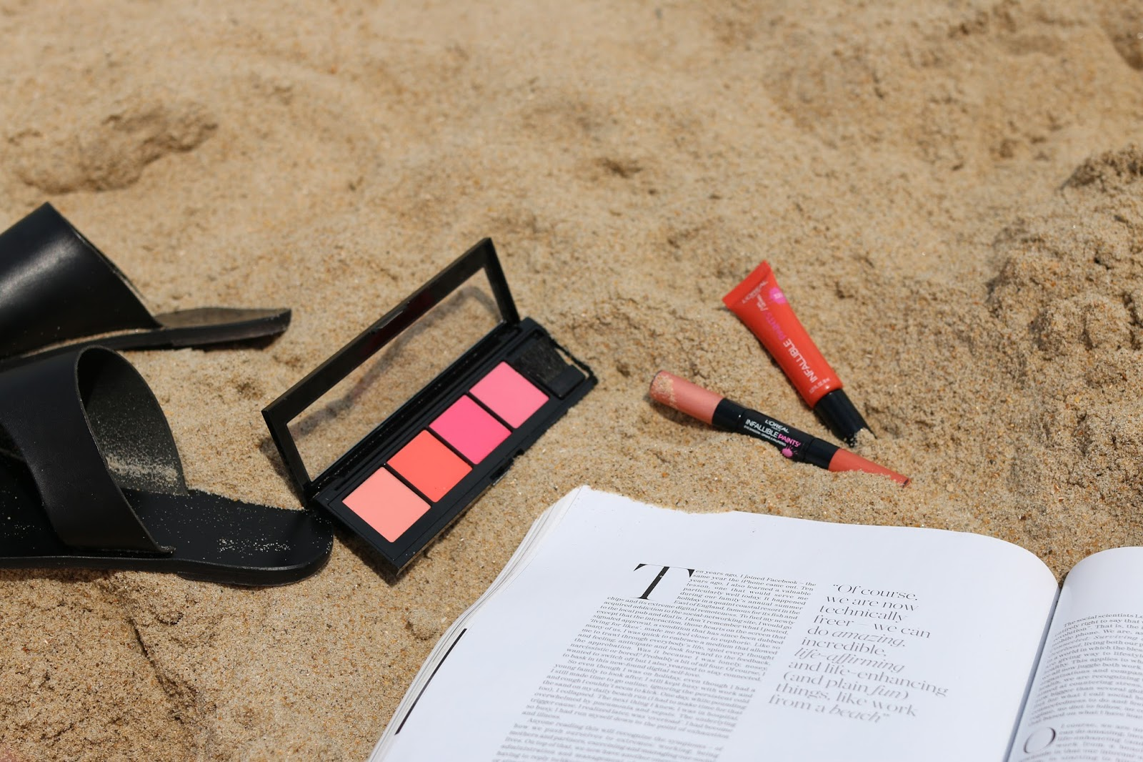 beauty blogger, beach outfit, beach makeup, orange makeup look, peachy makeup look, how to, tutorial, youtube, summer makeup, summer beauty, loreal, loreal paris, infallible paints, review