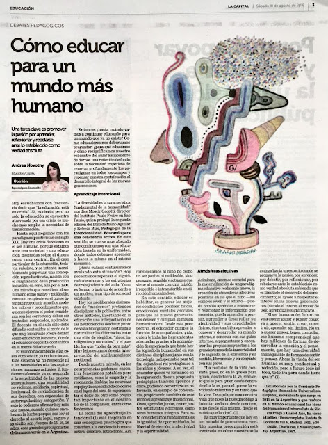 """""""Cómo educar para un mundo más humano"""" Nota en Suplento Educación del Diario La Capital"""