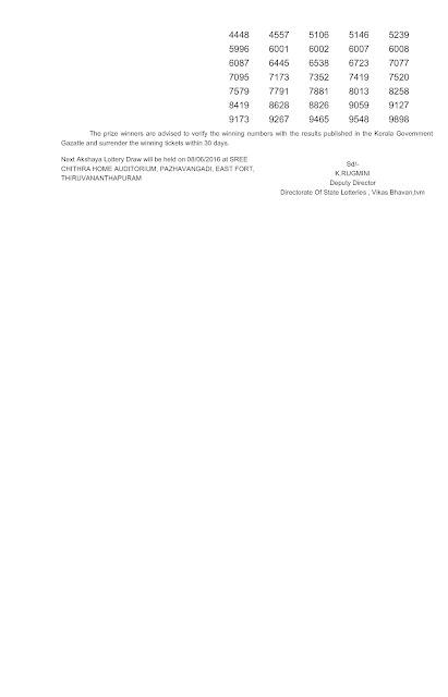 Kerala lottery official result of Akshaya (AK-244-2) on  01 June 2016