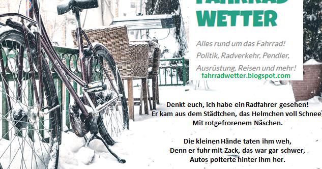 Weihnachtsgedicht Denkt Euch Ich Habe Einen Radfahrer Gesehen