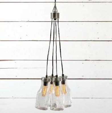 glass bottle cluster pendant light