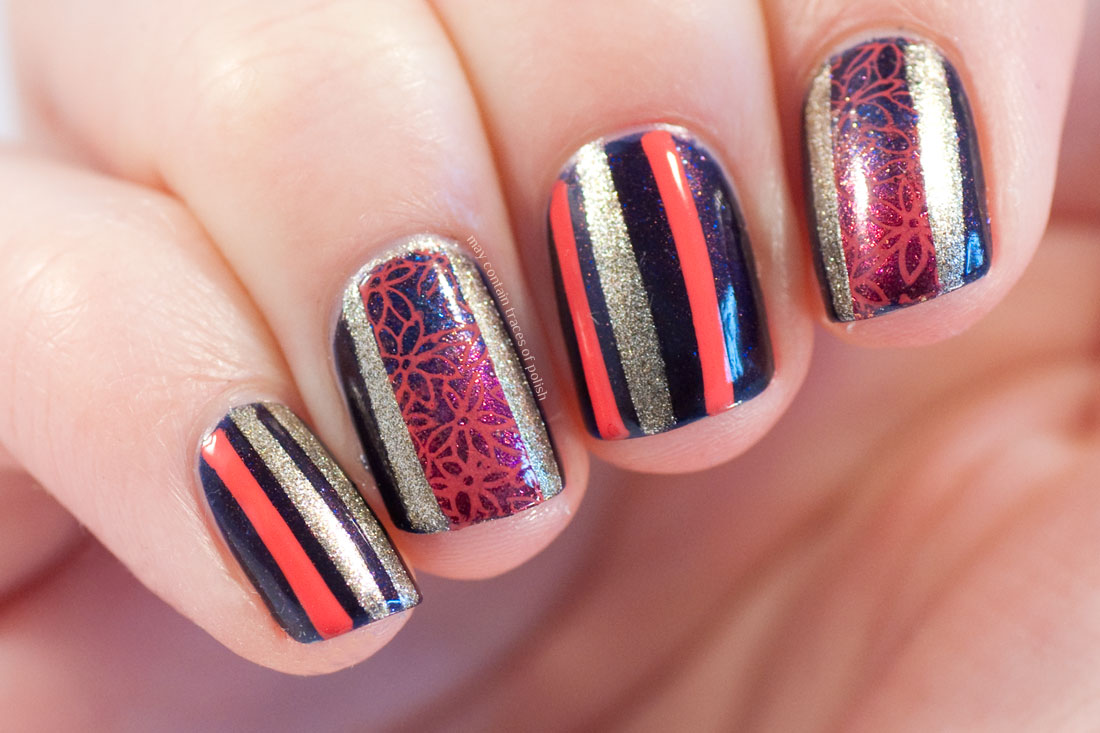 Gold and Coral Stripes Nail Art