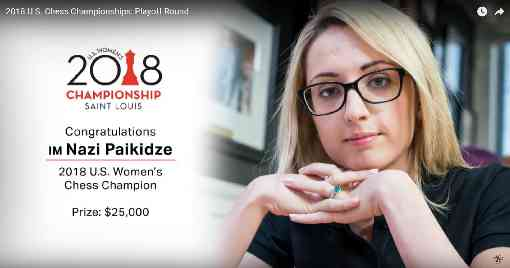 Nazi Paikidze est sacrée championne des USA 2018 pour la seconde fois - Photo © US Chess Championship