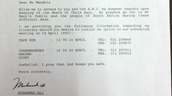 Muhammad Ali letter to Nelson Mandela sold for £7,200