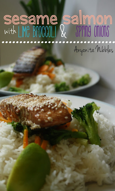 Sesame Salmon with Lime Broccoli & Spring Onions from www.anyonita-nibbles.com