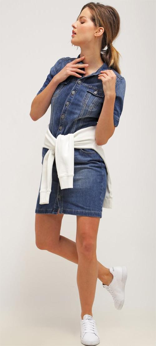 Robe courte en jean bleu s.Oliver