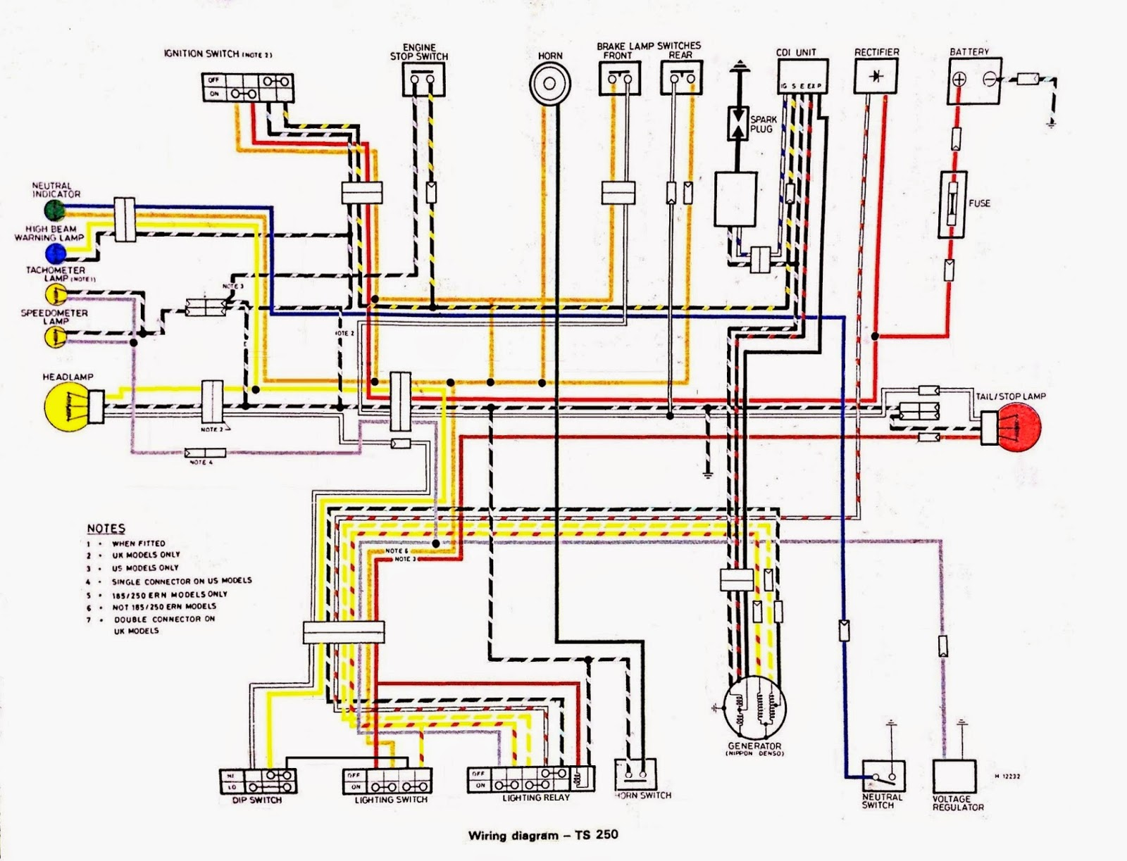 Ts250 Wiring Diagram Wire Center One Lead To The Led39s Cathode And Other Top Rail Suzuki Rebuild Part 4 Rewiring Rh Blogspot Com 1974 1969