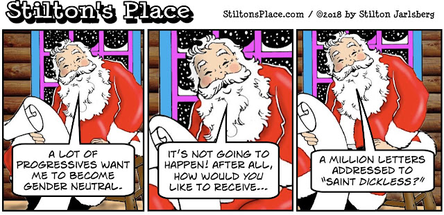 stilton's place, stilton, political, humor, conservative, cartoons, jokes, hope n' change, christmas, gender neutral, santa, female