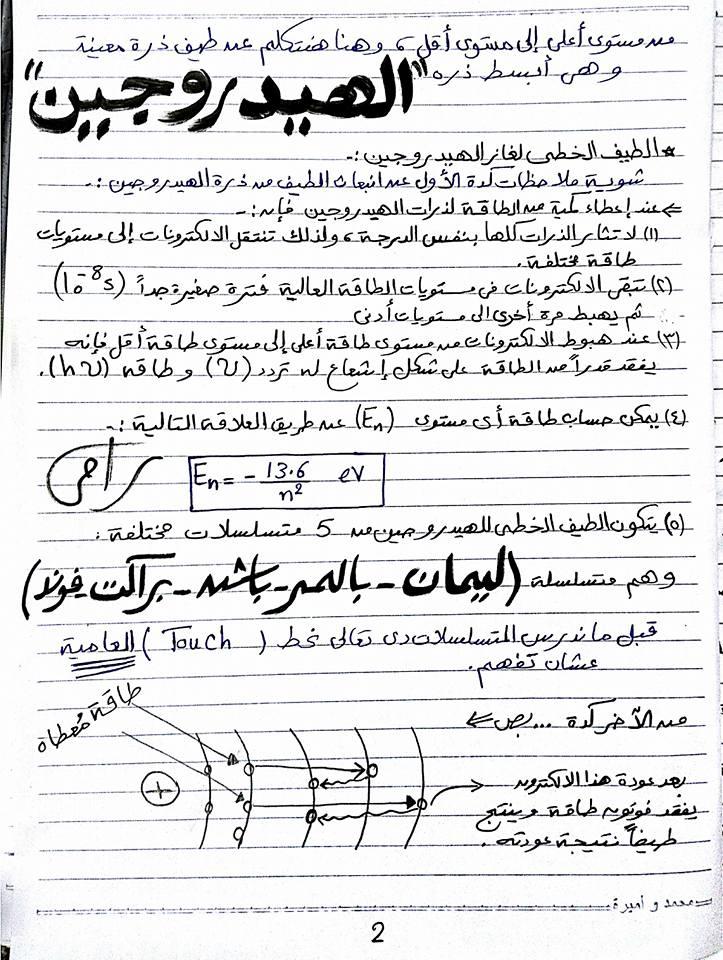 بالصور وبخط اليد مراجعة الاطياف الذرية - فيزياء ثالث ثانوي 2