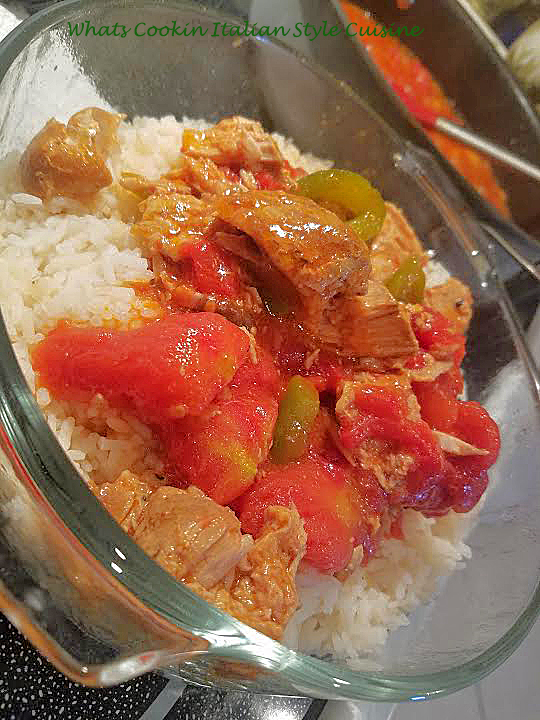 rice and leftovers in a sauce over rice with peppers and in a casserole dish