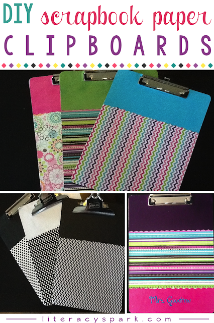 Here is an easy DIY clipboard craft tutorial using scrapbook paper and Mod Podge.  Update your old student clipboards for the classroom!  These clipboards are also a cheap and simple DIY gift idea for teachers, friends, or coworkers.