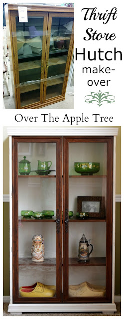 Thrift Store Hutch Makeover by Over The Apple Tree