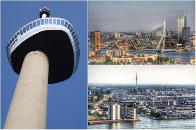 Euromast en Rotterdam – Vistas del Puente de Erasmo Erasmusbrug y el puerto Europoort