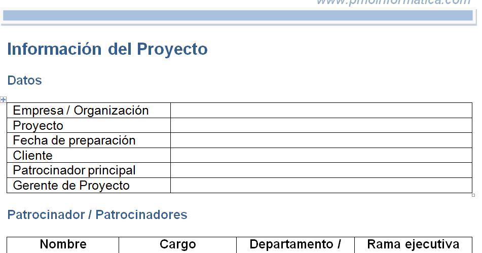 Plantilla del acta de constitución de proyecto (Project Charter ...