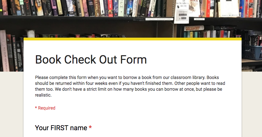 book check out form my classroom library solution