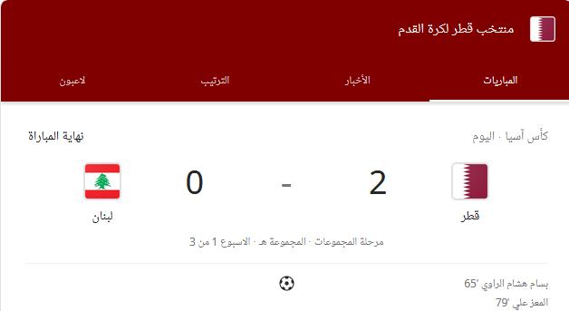 قطر تفوز على لبنان 2_0 كاس اسيا 2019 الامارات شاهد الاهداف