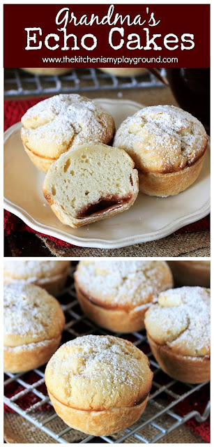 Grandma's Echo Cakes - Simply delicious strawberry jam-filled cupcakes with a pie crust bottom and one-egg cake top. These simple little treasures are a family-favorite recipe from Grandma! #thekitchenismyplayground  www.thekitchenismyplayground.com