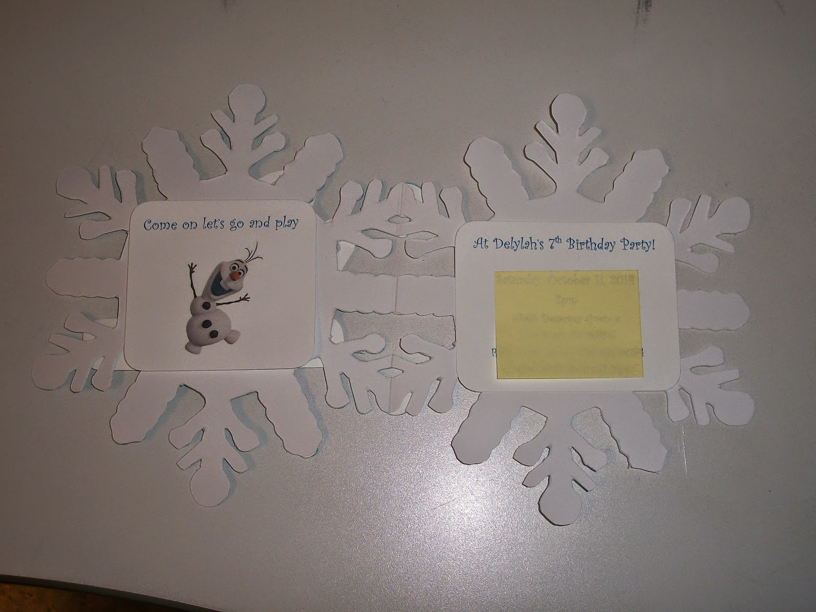 Inside of card has party information