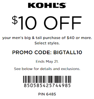Kohl's coupon $10 off $40 Men's big & tall apparel May 2017
