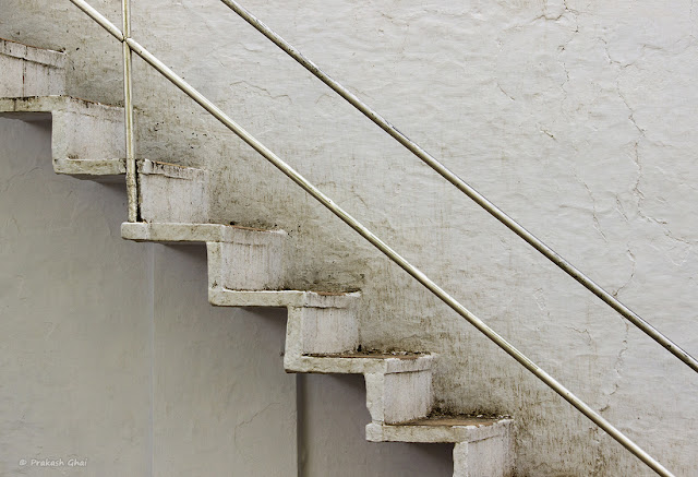 Lines and Basic Geometric shapes in a White Staircase located at Jharkhand Mahadev Temple, in Vaishali Nagar Jaipur, India.