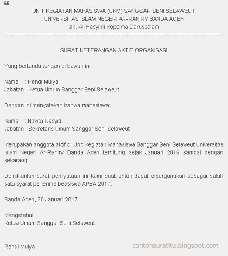 Contoh Surat Aktif Organisasi Yang Benar