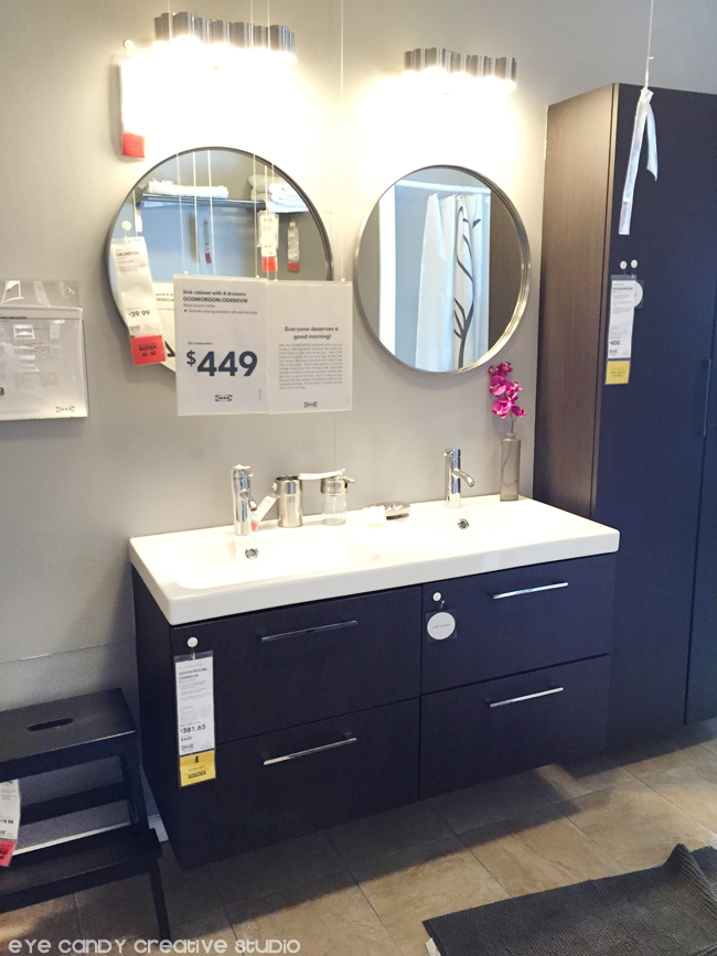 IKEA bathroom ideas, cabinet, sink, round mirrors, bathroom storage