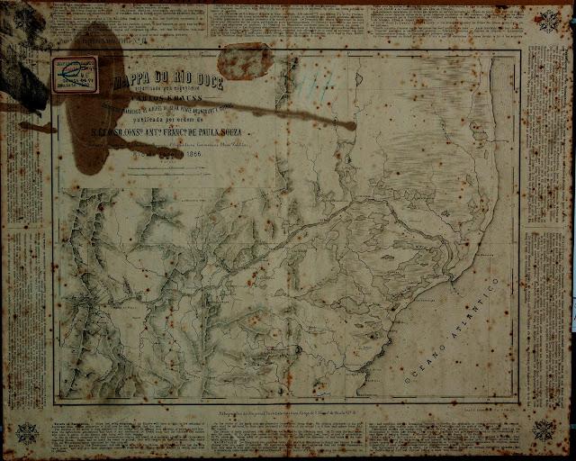 Mapa do Rio Doce, de Carlos Krauss, Rio de Janeiro, 1866. Acervo Arquivo Histórico do Exército.