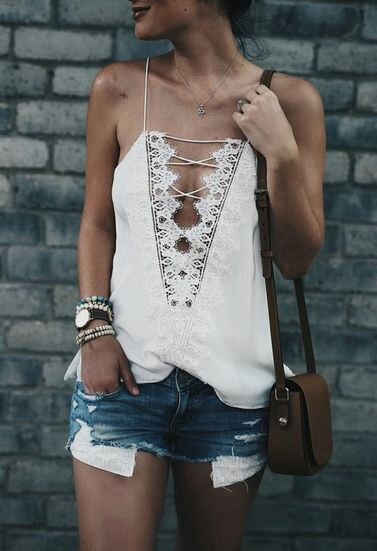 Sleeveless white Top with jeans skirt