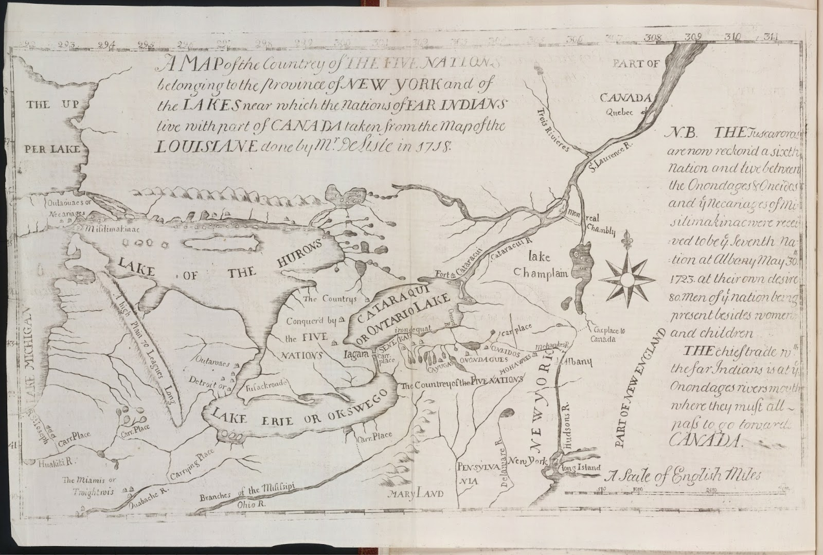 according to a french map published at paris with the french king s privelege the yellow colour what they allow ye english moll concluded that any body