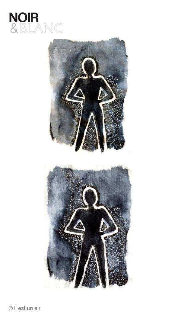 silhouette peinte et brodée