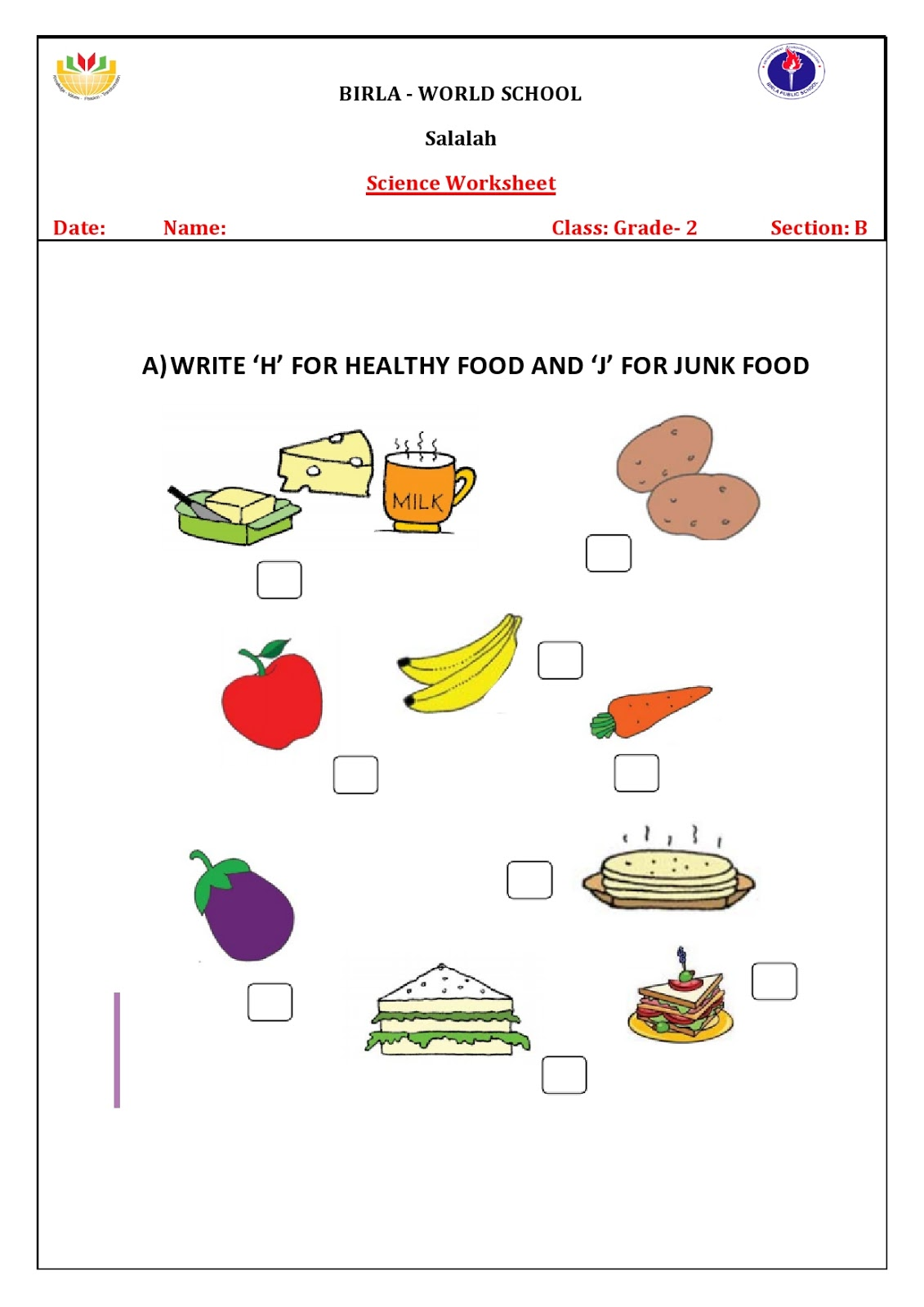 Worksheet For Class 1 On Food