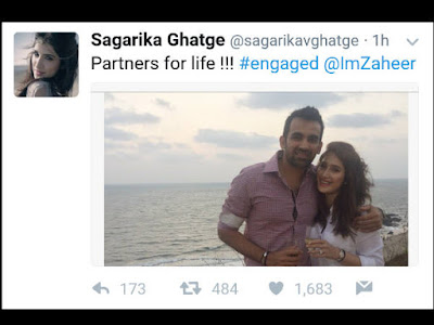 Sagarika Tweet announced engagement to Zaheer Khan
