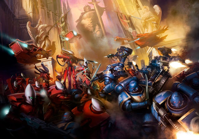 Ilustración Wake the Dead Aeldari vs Ultramarines