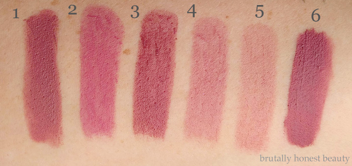 Swatches of Urban Decay Backtalk, L'Oréal Colour Riche La Lacque Lip Pen in Choco-lacque, Urban Decay Revolution Lipstick in Rapture, Urban Decay Sheer Revolution Lipstick in Sheer Rapture, Revlon Balm Stain in Honey, Tom Ford Lip Color Matte in Pussycat