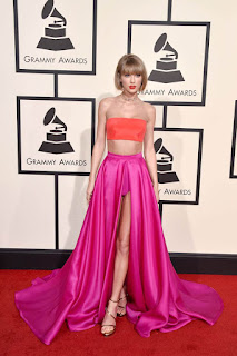 Orange Top Fuchsia Skirt Two Piece Celebrity Red Carpet Prom Dress - Taylor Swift