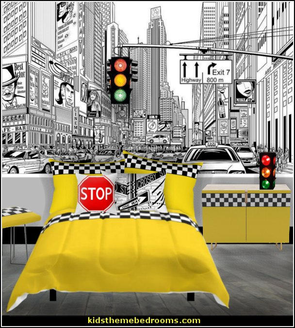 urban new york cabs city bedroom  Urban bedroom ideas - urban bedroom decor - urban bedrooms - Urban bedding - city theme bedrooms - New York City bedding - city decor - industrial furniture - city streets bedding - New York cabs - city living urban chic decorating ideas - Urban skater theme - Urban style decorating skateboarding theme - graffiti themed skater park - punk grunge bedrooms - graffiti bedroom decorating