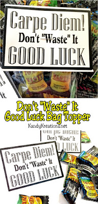 Cheer on your favorite team, player, or friend with this easy good luck bag topper printable.  Printable tells recipient to seize the day and make the most of it while wishing them good luck in a the most sour way possible using Toxic Waste candies.