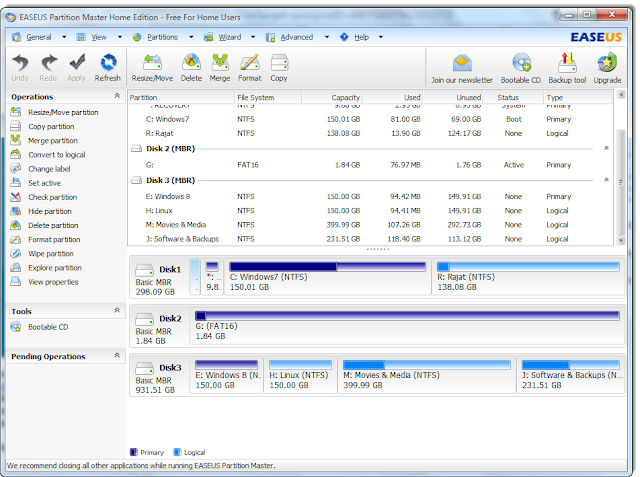 EASEUS Partition Master : Main Screen