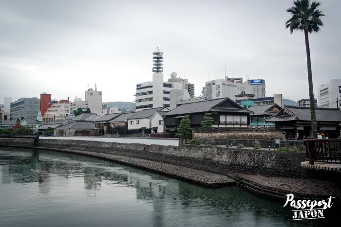 Île de Dejima, vue depuis la rive opposée, Nagasaki, Kyushu