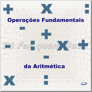 Ilustração mostrando os símbolos das quatro operações fundamentais da aritmética:adição, subtração, multiplicação e divisão
