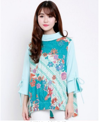 baju batik kombinasi sifon warna biru muda