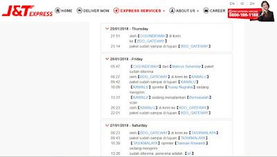 Screen capture tracking paket J&T yang 2 kali bulak balik Bandung Tasikmalaya.