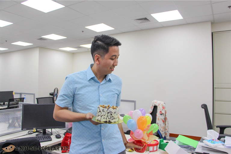 A Not-So-Popular Kid with his decadent cake from Scrumptious PH