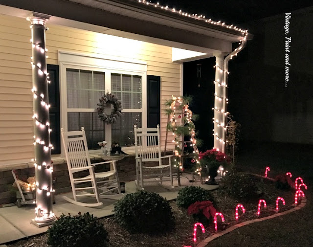 Vintage, Paint and more... vintage Christmas porch lit up at night